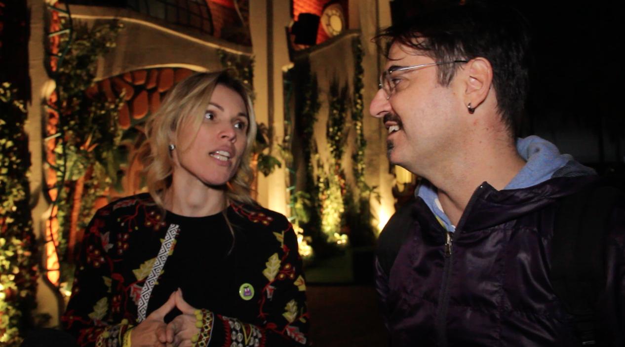Alexandra Almeida, diretora executiva da Agius Cultural e  Marcelo Jackow, diretor de criação da Caselúdico, empresa responsável pela cenografia da exposição (Foto: Agência de noticias Cla Cri)