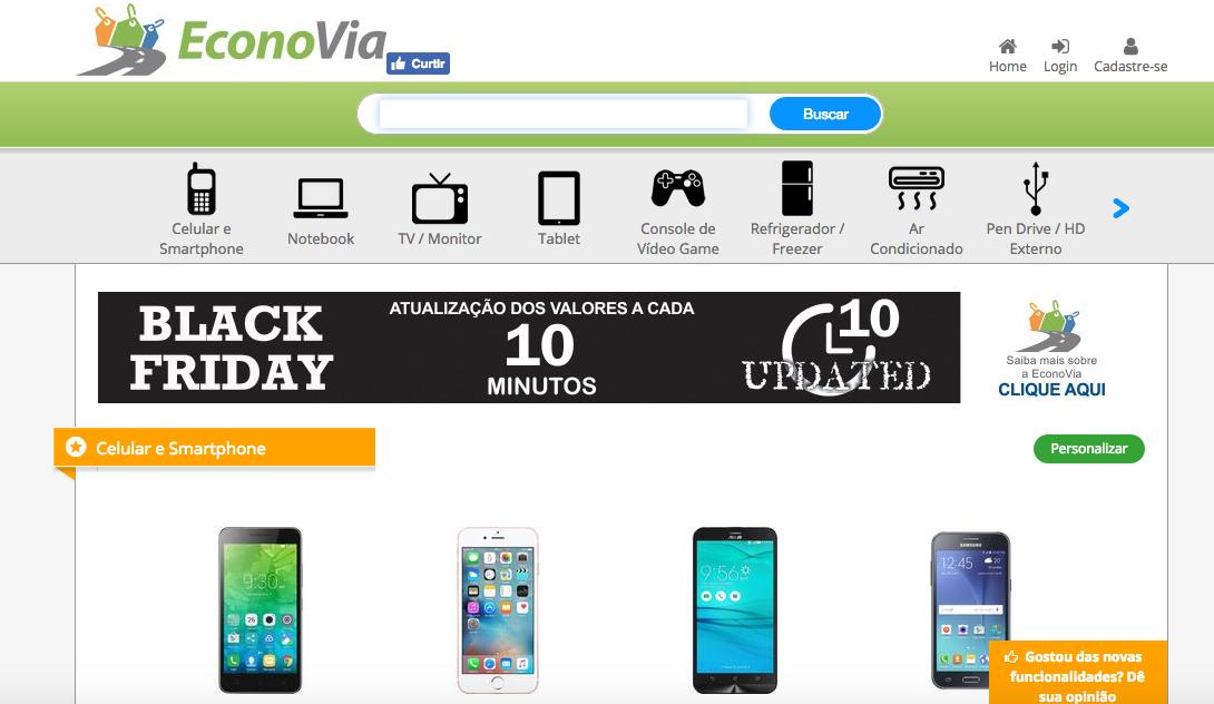 O EconoVia  pesquisa preços em diferentes lojas. A plataforma é voltada para produtos eletrônicos, como celulares, tablets e TVs, oferecendo também um gráfico de evolução dos preços e um alerta para ser notificado quando o valor estiver menor II Foto: Divulgação